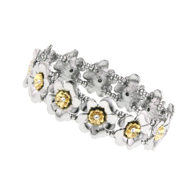 Gold Tone And Silver Tone Crystal Flower Stretch Bracelet Silver