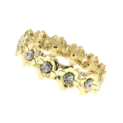 Gold-Tone And Silver-Tone Crystal Flower Stretch Bracelet