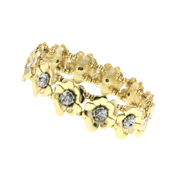 Gold Tone And Silver Tone Crystal Flower Stretch Bracelet