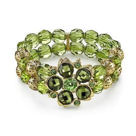 Fashion Jewelry - Green Olivine Color Bead Blossom Stretch Bracelet