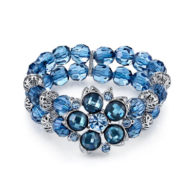 Silver Tone Blue And Filigree Bead Flower Stretch Bracelet