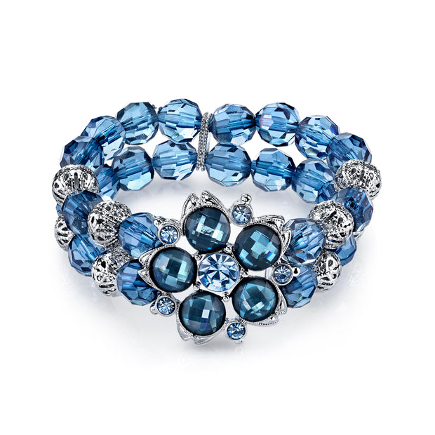 Silver-Tone Blue And Filigree Bead Flower Stretch Bracelet