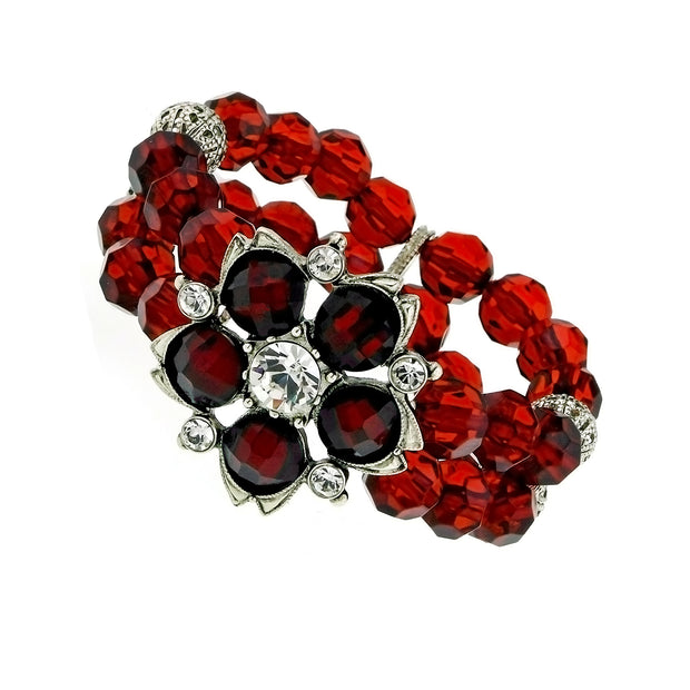 Silver Tone Red Crystal Beaded Flower Stretch Bracelet