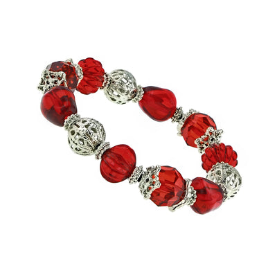 Silver Tone Red Beaded Filigree Stretch Bracelet