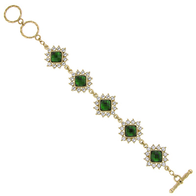 Gold Tone Green Stone And Crystal Toggle Bracelet