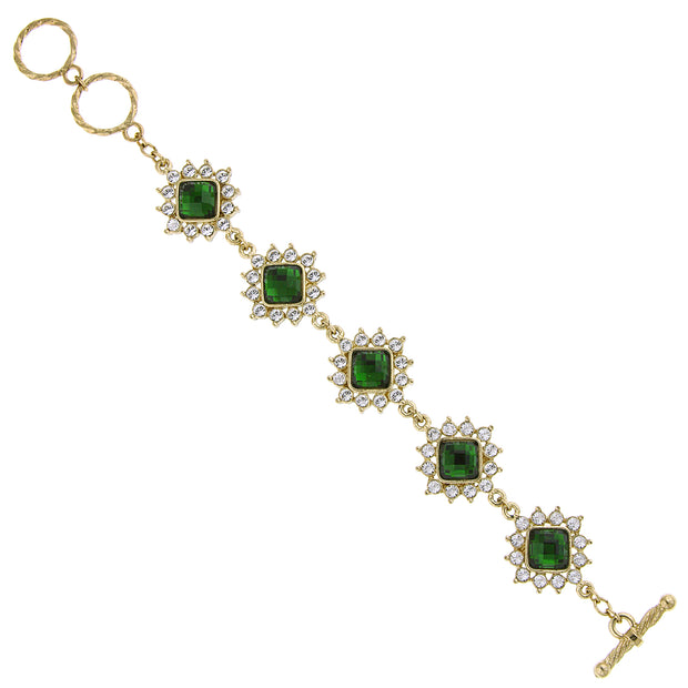 Gold-Tone Green Stone and Crystal Toggle Bracelet