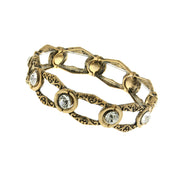 Gold Tone Crystal Open Work Stretch Bracelet