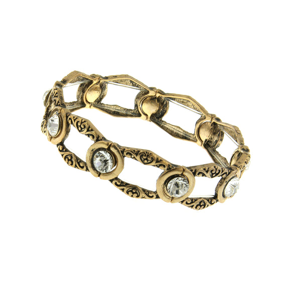Gold-Tone Crystal Open Work Stretch Bracelet