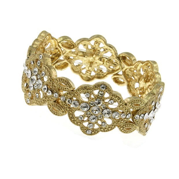Gold Tone Crystal Scallop Edge Stretch Bracelet