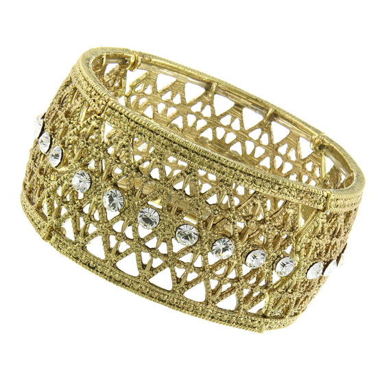 Fashion Jewelry - 2028 Gold-Tone Crystal Wide Filigree Stretch Bangle Bracelet