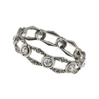 Silver-Tone Crystal Open Work Stretch Bracelet