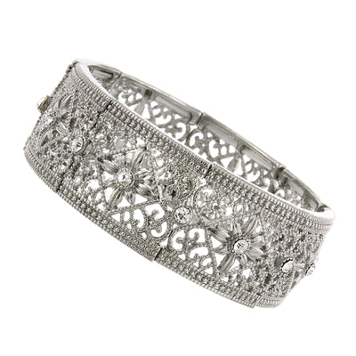 Silver-Tone Crystal Filigree Stretch Bracelet