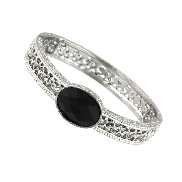 Silver Tone Black Faceted Oval Stretch Bracelet
