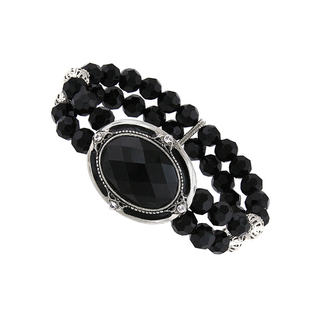 Silver Tone Crystal And Black Faceted Oval Beaded Stretch Bracelet
