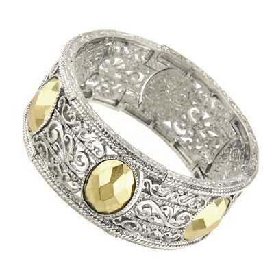 Silver-Tone and Gold-Tone Filigree Stretch Bracelet