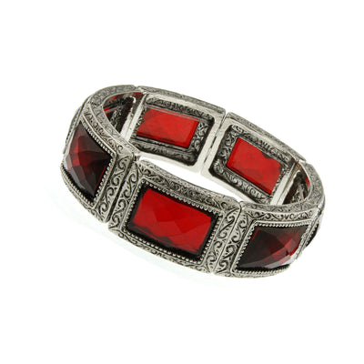 Silver-Tone Red Rectangle Stone Stretch Bracelet
