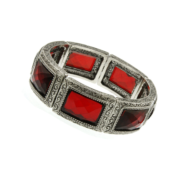 Silver Tone Red Rectangle Stone Stretch Bracelet