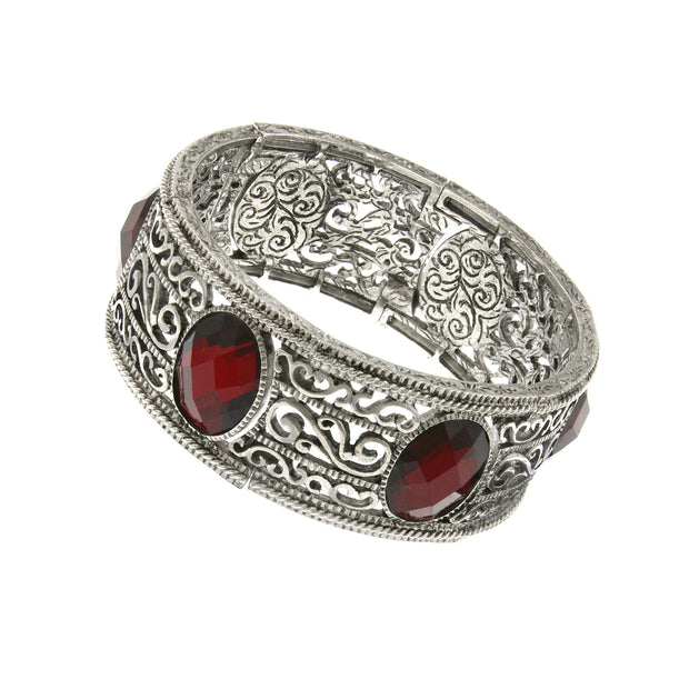 Silver Tone Red Faceted Oval Stone Stretch Bracelet