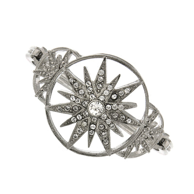 Silver-Tone Crystal Star Clasp Bracelet