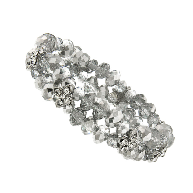 Silver Tone Crystal 2 Row Beaded Stretch Bracelet