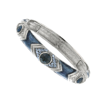 Silver Tone Blue Crystal And Blue Enamel Stretch Bracelet