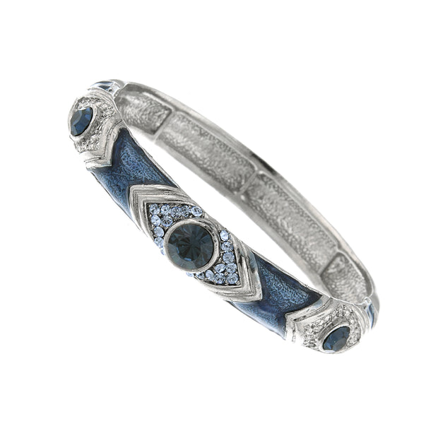 Silver-Tone Blue Crystal And Blue Enamel Stretch Bracelet