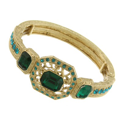 Gold-Tone Green and Blue Zircon Color Crystal Stretch Bracelet
