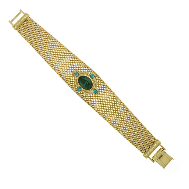 Gold Tone Emerald Green Color Mesh Band Bracelet