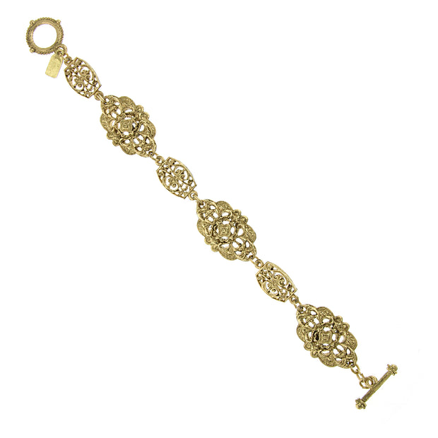 Gold Tone Fancy Filigree Toggle Bracelet