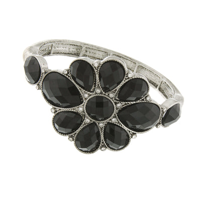 Silver Tone Black Faceted Flower Stretch Bracelet
