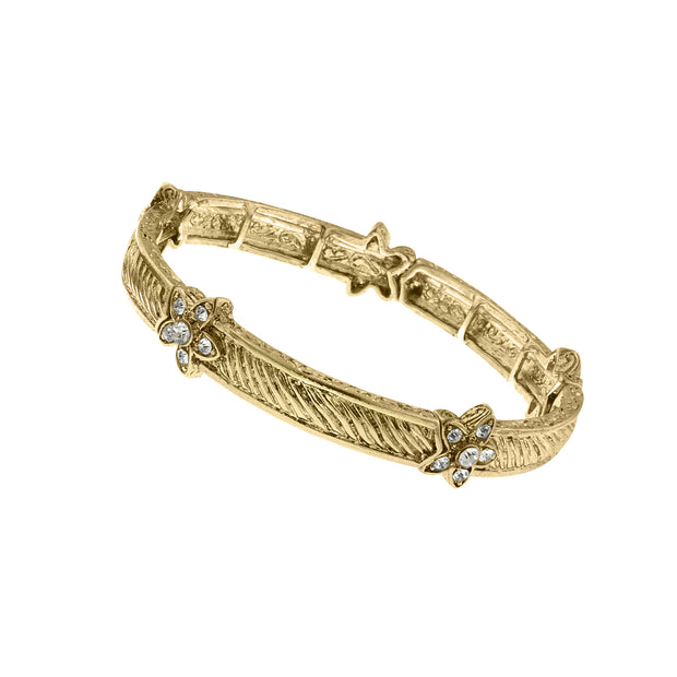 Gold Tone Crystal Floral Accent Stretch Bracelet