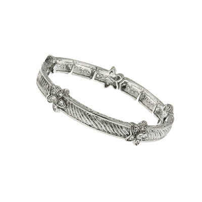 Silver Tone Crystal Floral Accent Stretch Bracelet