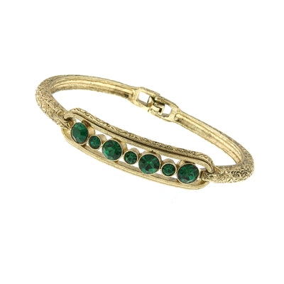 Gold Tone Green Crystal Clasp Bracelet
