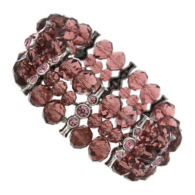 Silver Tone Purple Crystal 3 Row Beaded Stretch Bracelet