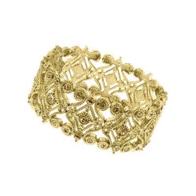 Gold Tone Light Topaz Color Scroll Stretch Bracelet
