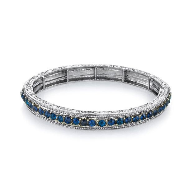 Silver Tone Sapphire Blue Color Crystal Stretch Bracelet