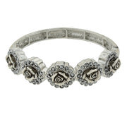 Silver Tone Crystal Flower Stretch Bracelet