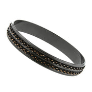 Black-Tone And Gold-Tone Double Chain Wrapped Bangle Bracelet