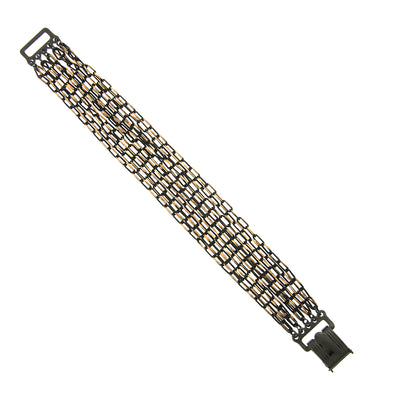 Black-Tone And Gold-Tone Multiple Chain Clasp Bracelet
