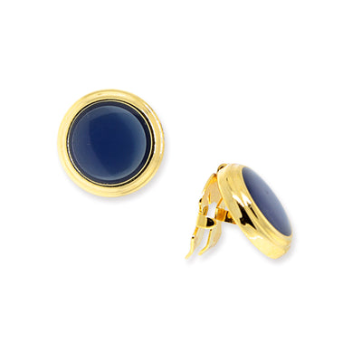14K Gold-Dipped Blue Enamel W/ Transparency Button Cover