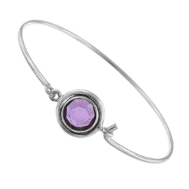 1928 Jewelry: 1928 Jewelry - Silver-Tone Amethyst Swarovski Crystal Thin Bangle