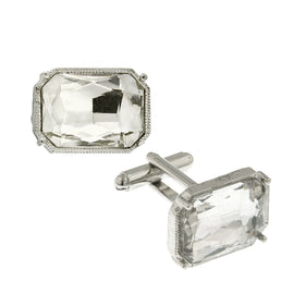 Silver Tone Rectangle Crystal Cufflinks