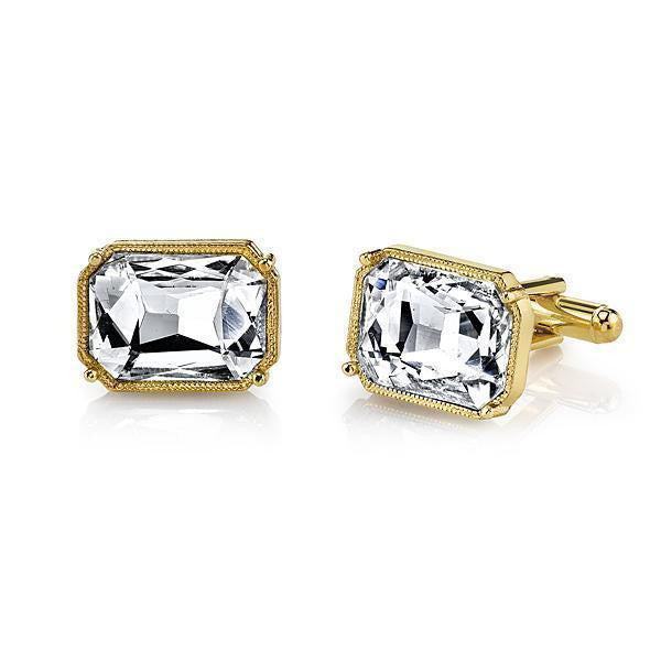14K Gold Dipped Rectangle Crystal Cufflinks