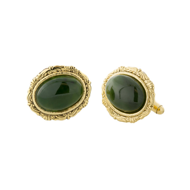 1928 Jewelry 14K Gold Dipped Gemstone Dark Jade Oval Cufflinks