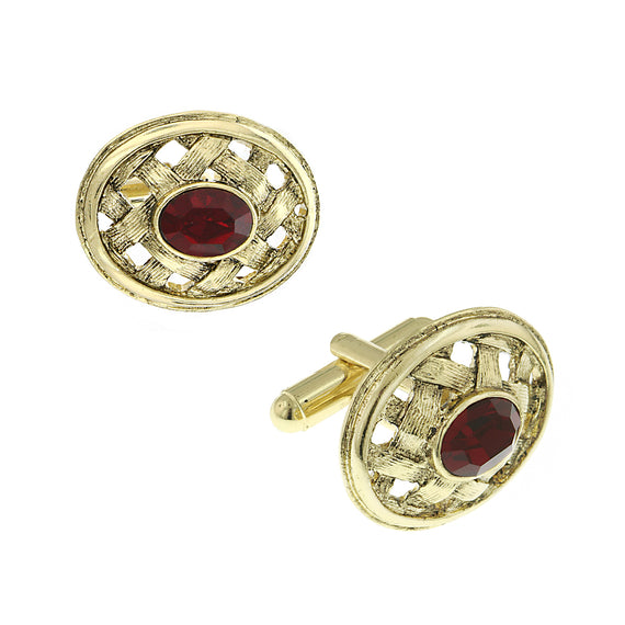 14K Gold-Dipped Lattice Red Crystal Cufflinks