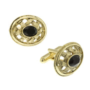 14K Gold Dipped Lattice Black Crystal Cufflinks
