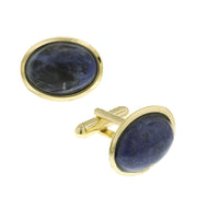 14K Gold Dipped Gemstone Blue Sodalite Oval Cufflinks