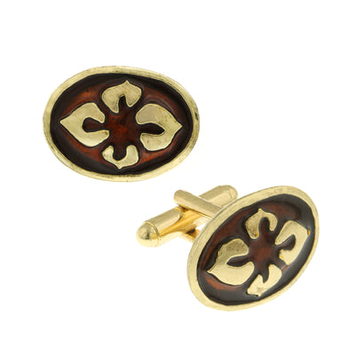 14K Gold-Dipped Brown Enamel Flower Cufflinks
