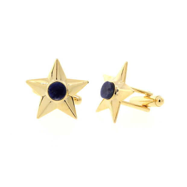 14K Gold Dipped Semi-Precious Blue Sodalite Star Cufflinks