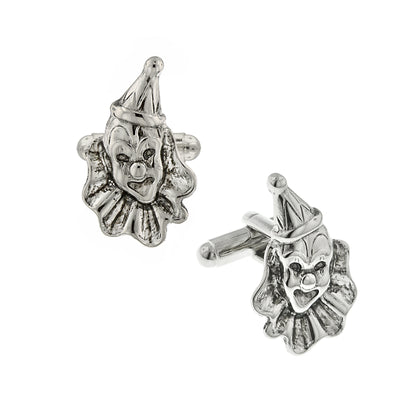 Silver Tone Clown Cufflinks